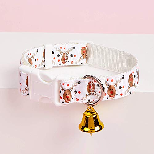 Canple Pet Collar Dog Collar for Holiday Season with Christmas Pattern and Bell for Puppy, Small and Medium Size Dog up to 70 lbs (Reindeer, Small(Neck Girth: 9-12 in))