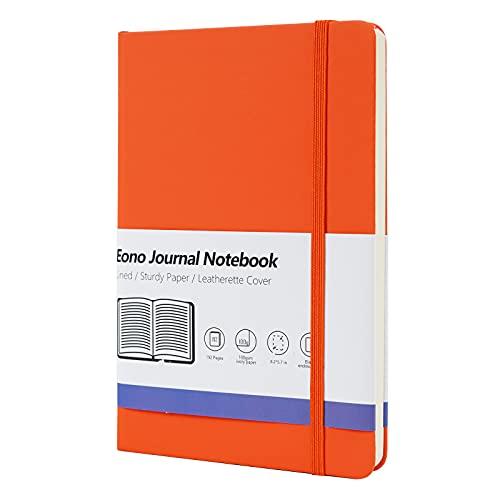 Amazon Brand - Eono Cuaderno A5, Libreta Forrado con Tapa Dura, Perfecto para Oficina, Hogar, Escuela, Blocs de Notas y Escritura -192 Páginas, Naranja
