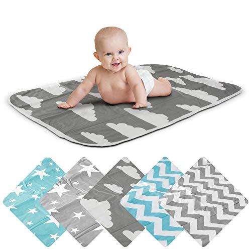 Wickelunterlage Baby Wickelauflage Baby Wickel-Decke Unterlage für Säuglinge und Kleinkinder; atmungsaktiv, waschbar, wiederverwendbar; 50 x 70 cm (Wolken-Grau)