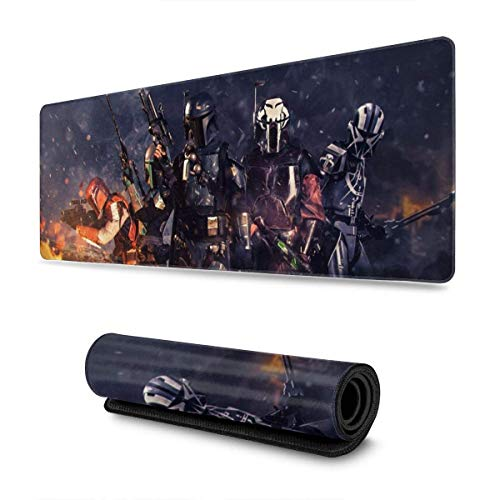 Star War Manda-lorian Mouse Pad Mouse Mat with Stitched Edge Non-Slip Rubber Base Electronic Sports Oversized Mousepad Laptops Computers and PC Gaming 11.8X31.5 Inch Mouse Large Extended Pads