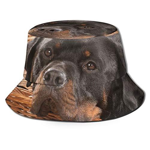 136 Felice Pasqua Cane Rottweiler Bucket Hat Sun Cap per Estate Viaggi Spiaggia All'aperto UV Unisex Pescatore Cappelli