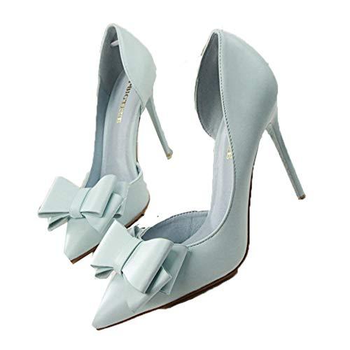Zapatos de tacón alto para mujer Punta puntiaguda Cuero de color sólido...
