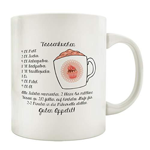 Interluxe Tasse Kaffeebecher TASSENKUCHEN Backen Geschenk Rezept Spruch Motiv Shabby