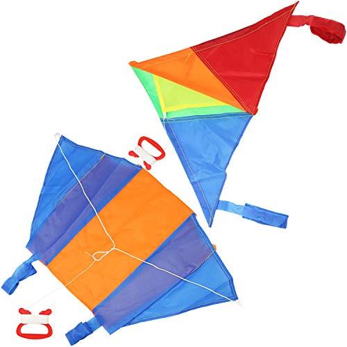 com-four® 2X Flugdrachen in bunten Farben für Kinder - Wind-Drache mit 15 Meter Langer Schnur - Einleiner Drachen in verschiedenen Modellen [Auswahl variiert] (02 Stück - Flugdrache klein)