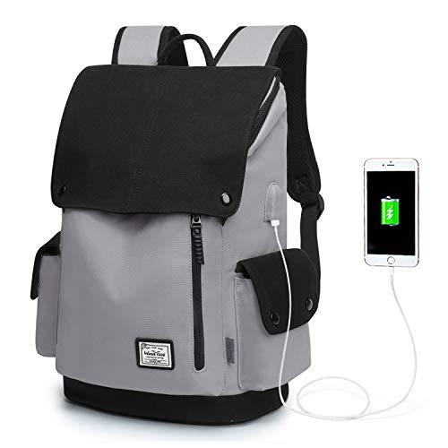 WindTook Canvas Backpack Daypack 15 Zoll Laptop Rucksack Schulrucksack Tagesrucksack mit USB Anschluss für Uni Büro Alltag Freizeit, Grau