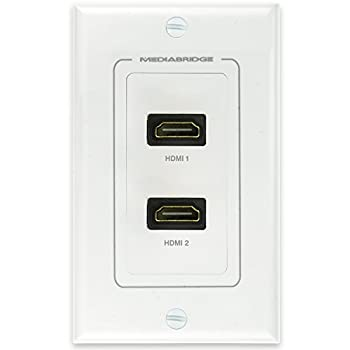 Mediabridge HDMI Wall Plate  2 Port  - Supports 4K 3D ARC - Limited TIME Offer  Free Low Voltage Metal Mounting Bracket  1-Gang  - 2-Piece Inset Wall Plate for 2 HDMI  Part# WP1-HDMIX2