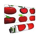 Extra Groß Mauspad mit Genähten Kanten,XL-75 x 40 x 0.3cm,Frische und reife rote Äpfel Früchte mit grünen Blättern un,Schreibtisch Mat Personalisiert für Die Arbeit Spiel Büro Computer Laptop