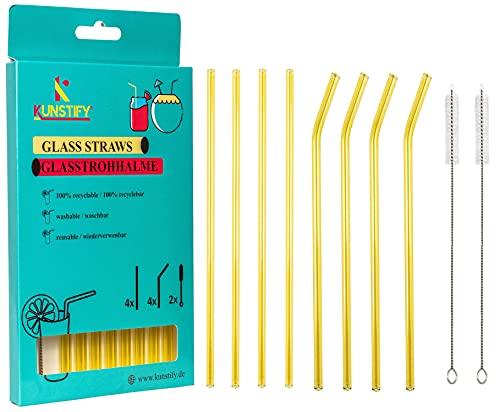 KUNSTIFY Cannuccia in vetro per cocktail e accessori da cocktail, cannucce in vetro riutilizzabili, lavabili in lavastoviglie, con spazzola (giallo)