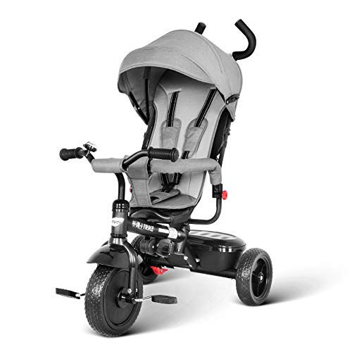 besrey Toddler Tricycle 4 in 1 Kids Trike with Parent Push Handle for 1 to 6 Years Old Baby Boy Girl Toy Gray