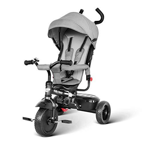 besrey 4 in 1 Triciclo Passeggino per Bambini Triciclo con maniglione Triciclo a Spinta con Tetto...