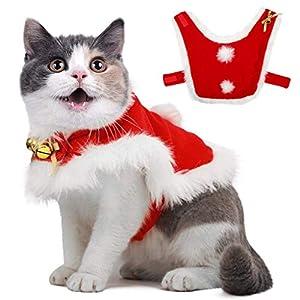 Costume de manteau de Noël pour animaux de compagnie avec des cloches en tissu doux et épais vêtements pour animaux de compagnie, habillement, tenue, habillage pour chiot chaton petits chats, chiens