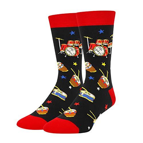 Product Image 1: Mens Novelty Drum Music Socks in Black, Crazy Music Themed Gift for Music Lover