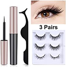 Magnetic Eyelashes and Eyeliner Kit, Furnishop Magnetic Eyeliner with 3 Size Magnetic Eyelashes Kit Sweat-proof Reusable No Glue False Eyelashes
