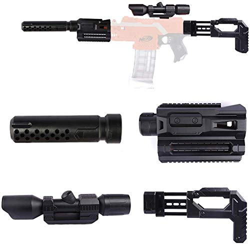 Upgrade Zubehör Set für Nerf, Zielfernrohr+Entstörung+Guide Rail Adapter+Gewehrkolben für Stryfe/Modulus IonFire/Motorized/Modulus ECS-10 Series Blaster (Black)