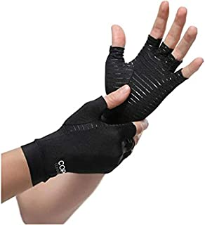 1 Pair Womens Mens Copper Fiber Therapy Compression Gloves Hand Arthritis Joint Pain Relief Half Full Finger Therapy Glove...