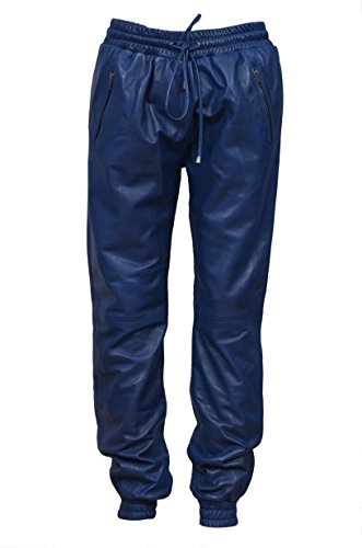 Smart Range Mens Blau Napa Echt Weiche Lederhose Sweat Trainingshose Zip Jogging Bottom (32, Blue)
