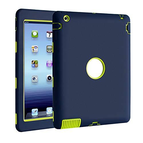 TKOOFN iPad 2/3/4 Hülle - PC + Silikon Schutzhülle Bumper Gehäuse Back Cover Case Schutz Tasche Etui-- Hybrid Stoßfest (Blau, iPad 2 3 4)