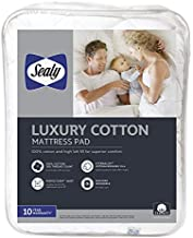 Sealy Luxury 100% Cotton Fitted Mattress Pad, Queen, White