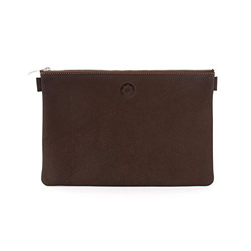 Banktasche, naturbraun, echtes Leder, Aufbewahrung für Dokumente, Ausweis, Geld, 24 cm breit