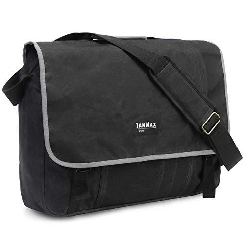 Jan Max Canvas Laptop Bag 15.6 Inches, Shoulder Bag for Men and Women, Laptop Bag Also Suitable for Laptops 13, 14, 15, Black/Grey