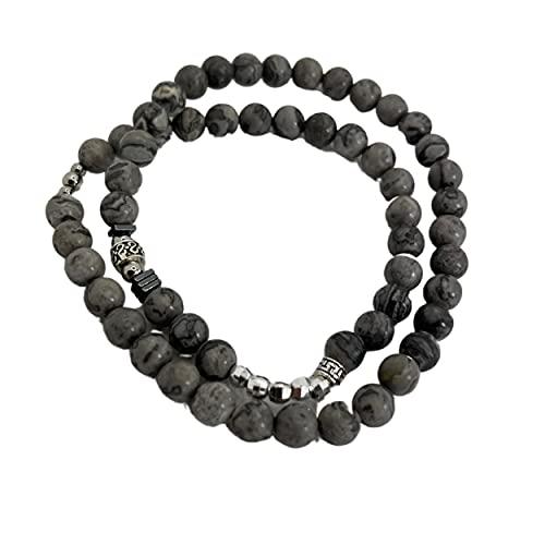 GENAC - Pulsera doble elástica extensible con perlas naturales de 6 mm, plata 925 hematita y acero inoxidable, pulsera unisex de diseño único, perfecta para hombres y mujeres, Taille 2, Piedra,