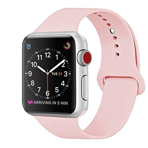 ZRO Cinturino for Apple Watch, Morbido Silicone Braccialetto di Ricambio per 42mm iWatch Serie 3/ Serie 2/ Serie 1, Taglia M/L, Vintage Rosa