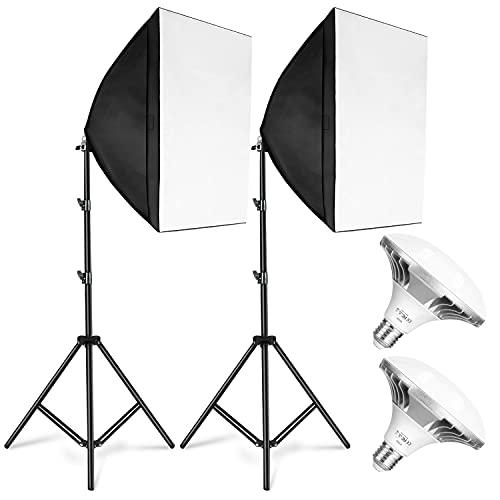 ESDDIPhoto Softbox LED 900W Luci Set Fotografico Professionale con 5400K E27 Socket Light, 2 Riflettori 50 x 50 cm,2 Lampadine per Ritratto Prodotto Moda Fotografia