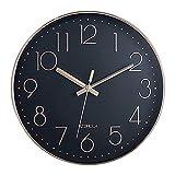 HZDHCLH 30cm Modern Quartz Lautlos Wanduhr Schleichende Sekunde mit Arabisch Ziffer ohne Ticken für Dekoration Wohnzimmer, Küche, Büro, Schlafzimmer (Rosegold-schwarz)