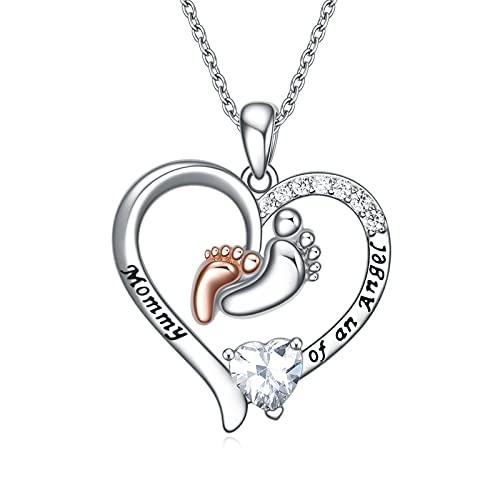 WINNICACA Collar de plata de ley con diseño de pies de bebé, colgante de piedra natal de abril, regalo para mamá, madre, abuela, cumpleaños