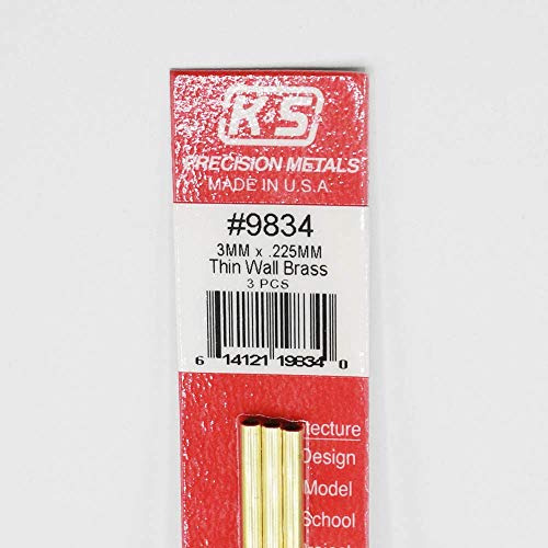 K&S Precision Metals 9834 Thin Wall Brass Tube, 3mm O.D. X .225mm Wall Thickness X 300mm Long, 3 Pieces per Pack, Made in The USA