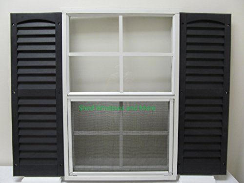 """Shed Window and Shutters (Pair) 18"""" X 27"""" White J-Channel Mount, Storage Shed, Playhouse (White)"""