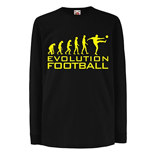 lepni.me T-Shirt Bambini Ragazze The Evolution of Football - Maglia per Tifosi della Coppa del Mondo di Calcio (12-13 Years Nero Giallo)