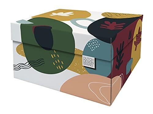 Dutch Design Brand Cajas de almacenamiento decorativas con tapa – Tamaño: 38,9 x 31,8 x 21,1 cm – Cartón reciclable certificado FSC (Impresión: garabatas)