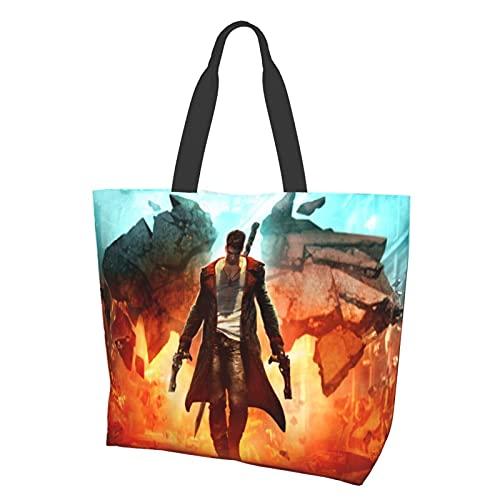 Diablo puede llorar bolsa de hombro poliéster bolsas de mano de las mujeres de gran capacidad bolsas de hombro para bolsas de compras viaje Fitness Beach Sack