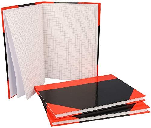 com-four® 3X taccuino A5 a Quadretti - Agenda - Blocco Note Rosso-Nero con Copertina Rigida - taccuino - taccuino, Libro Bullet Journal - Libro di Idee 96 Fogli, Mix FSC, 60 g/m² (A5 Quadrato)