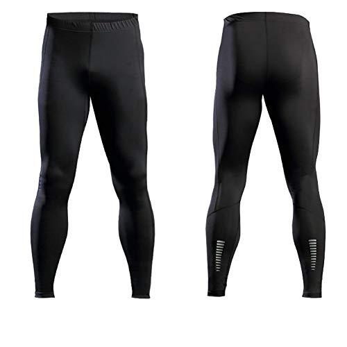 ETbotu - Pantalones de compresin para hombre, elsticos y elsticos, con banda reflectante, color Negro, tamao XXXL