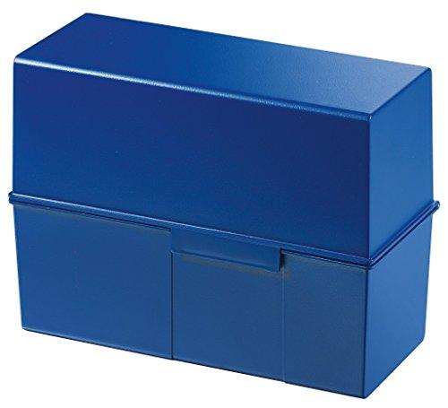 HAN Karteikartenbox DIN A5 975-14 für 500 Karteikarten im Querformat – Aufbewahrungsbox aus Plastik mit Deckel & Stahlscharnier in Blau - für den Schulbedarf & Büro