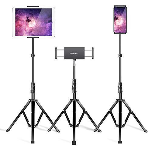 """Elitehood Metal iPad Tripod Stand, 65'' Adjustable Tablet Floor Tripod Stand, Standing Tablet Holder Mount for iPhone iPad Pro 12.9, 11, iPad Air, Mini, Kindle, and 4.7-13"""" Tablets Cellphones - Black"""