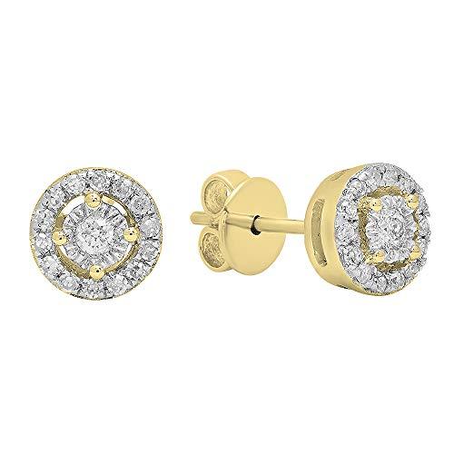 Dazzlingrock Collection Aretes de diamantes blancos redondos de 0,20 quilates de oro amarillo de 14 quilates