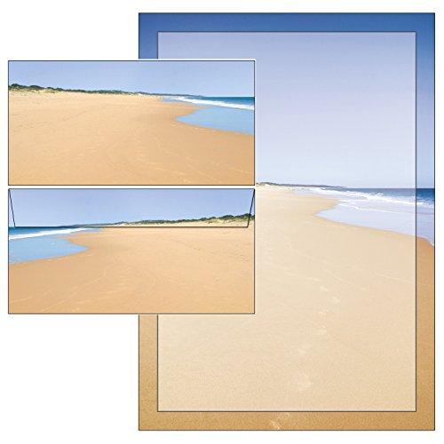 Sandstrand - Set - 25 Blatt Briefpapier + 25 Briefumschläge DIN lang ohne Fenster mit Mappe 5055+6055