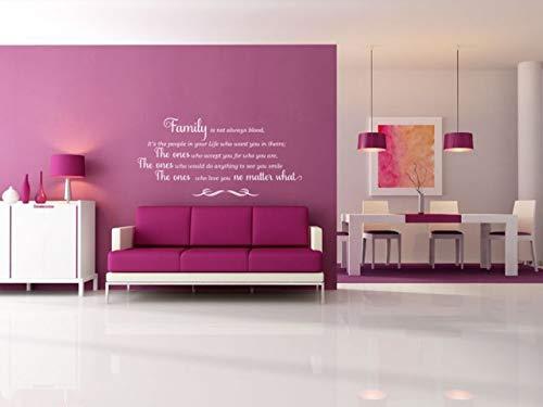 Adhesivo decorativo de PVC con texto 'Family is not always blood para pared, tamaño grande, 96 cm de ancho x 49 cm de alto.