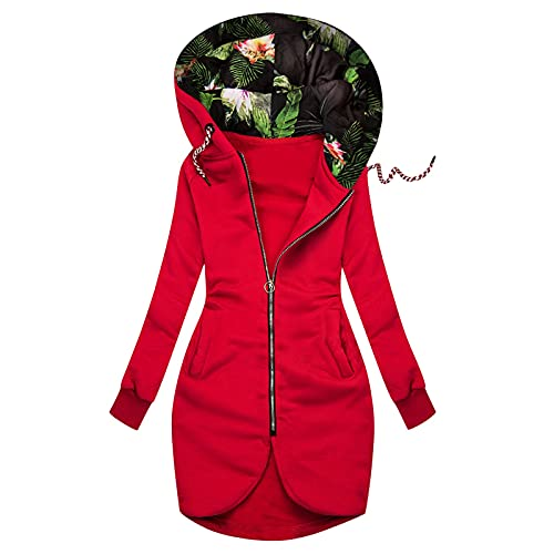Hooded Jackets for Women - Floral Hat Plus Size Fleece Standard Packable Hooded Rain Jackets with Pockets Waterproof Red