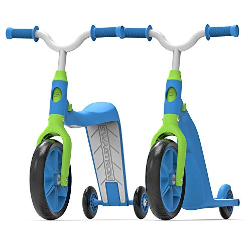 Swagtron K6 Toddler Scooter, Convertible 4-in-1 Ride-On Balance Trike & Training Bike for 3-5 Year Olds — ASTM F963 Certified (Blue)