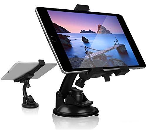 Universal Car Mount Tablet Holder, Dash Tablet Holder Stand for Car Windshield Dashboard, 360° Rotation TPU Suction Cup Mount for iPad Pro Mini Air Samsung Galaxy Tab A S Series All 4.7-10.5' Devices