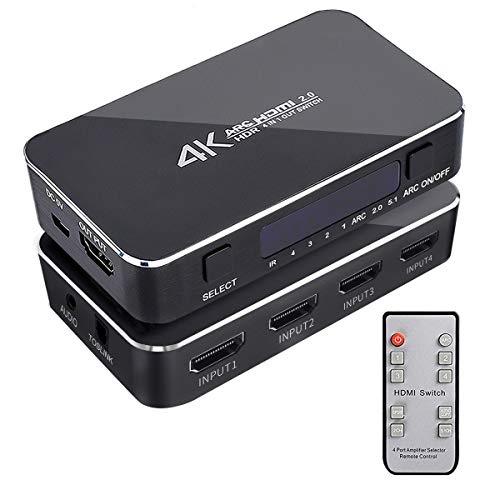 HDMI Switch 4x1 with Audio Extractor, 4K@60Hz Ultra HD HDMI Switcher...
