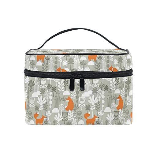 HARXISE Sac De Rangement pour Cosmétiques,Fox Orange Silhouettes dans la forêt d'hiver Style dessiné à la Main Fleurs Herbes,pour Cosmétique Trousse/Organisateur/Sac de Toilette