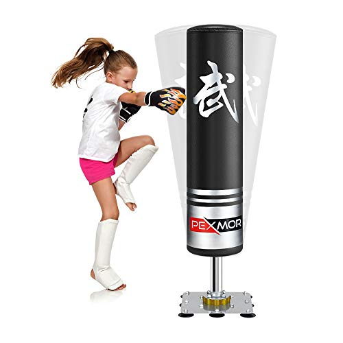 PEXMOR 47'' Freestanding Punching Bag for Kids - Heavy Boxing Bag with Suction Cup Steel Base Stand, Free Stand Kickboxing Bags Kick Punch Bag, Great for Exercise or Fitness, Black