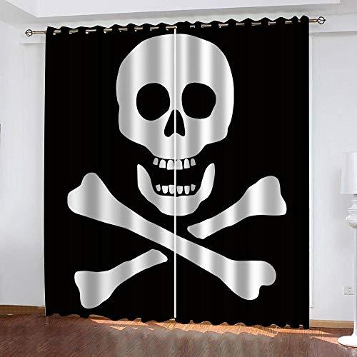 Ahooaceo® Witte Schedelvorm 3D Digital Printing Polyester Met Oog Gordijnen Woonkamer Balkon Slaapkamer Raamdecoratie Verduisteringsgordijnen 2 Delige Set 170 (B) X200 (H) Cm