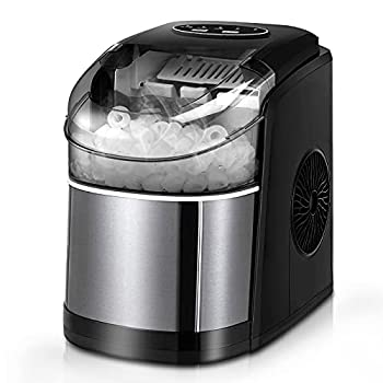 Ice Maker Machine for Countertop Self-Cleaning Function 26Lbs/24H Portable Ice Maker 9 Cubes Ready in 6 Mins Compact Ice Cube Maker with Ice Scoop & Basket for Home/Kitchen/Office/Bar  Black