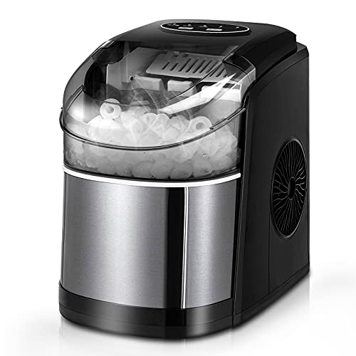Ice Maker Machine for Countertop, Self-Cleaning Function, 26Lbs/24H Portable Ice Maker, 9 Cubes Ready in 6 Mins, Compact Ice Cube Maker with Ice Scoop & Basket for Home/Kitchen/Office/Bar (Black)